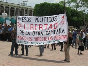 Marcha para la liberación de los detenidos del Ejido de San Sebastián Bachajón