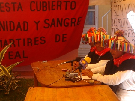Imagen de la conferencia de prensa de Las Abejas Fuente: CDHFBC