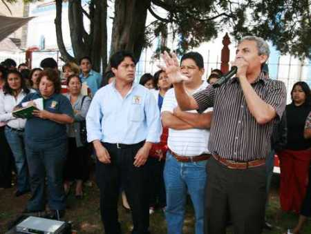 Víctor Hugo Zavaleta en una manifestacion en San Cristóbal @ Moyses Zúñiga, La Jornada
