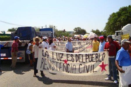 Marcha del movimiento en contra de las altas tarifas en Tonalá, el 8 de marzo de 2010 @ Consejo Regional Autónomo de la Zona Costa de Chiapas
