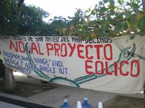 Manta de rechazo al proyecto eólico de San Mateo del Mar @ archivo SIPAZ