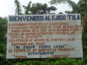 Letrero de los ejidatarios en Tila @ SIPAZ