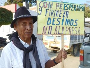 Opositor a la presa Paso de la Reina, Oaxaca. Foto (@Sipaz)