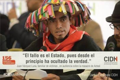 Juan Vázquez Luna, Secretario de la Mesa Directiva de Las Abejas de Acteal, ante la CIDH sobre la masacre de Acteal @Daniel Cima para CIDH