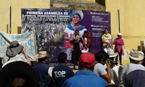 Mitin del MODEVITE y del Movimiento de Mujeres en Defensa de la Tierra, el Territorio y por el Derecho de las Mujeres a decidir. Foto: @SIPAZ