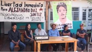 Conferencia de prensa por la liberación de Alejandro Díaz Santiz. Foto: @Red contra la Represión y por la Solidaridad