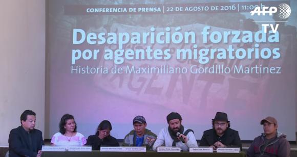 Rueda de prensa en exigencia de la presentación con vida de Maximiliano Gordillo Martínez (Foto @AFPTV)