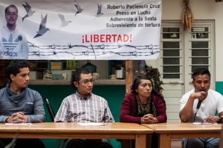 Rueda de Prensa para Roberto Paciencia Cruz, familiares de Roberto, Solidarios de la Voz del Amate, Grupo de Trabajo