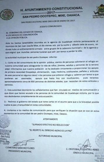 Pronunciamiento de San Pedro Ocotepec, Foto @Facebook de Codigo DH